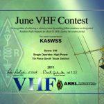 2011 June VHF certificate